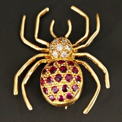 18K Yellow Gold Diamond and Ruby Spider Brooch