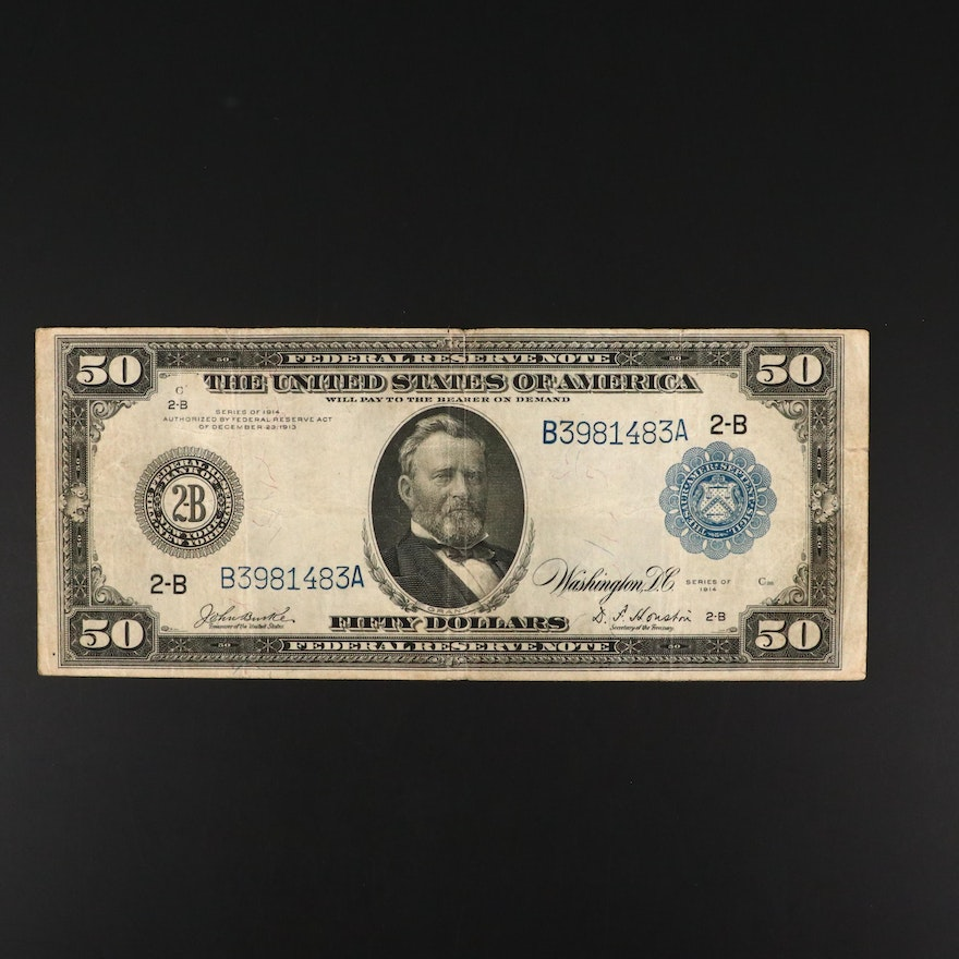 Series of 1914 Fifty Dollar Federal Reserve Burke/Houston Currency Note