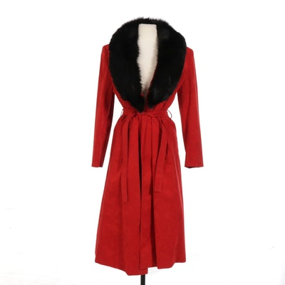 Red Suede Coat with Tie Belt and Black Fox Fur Collar