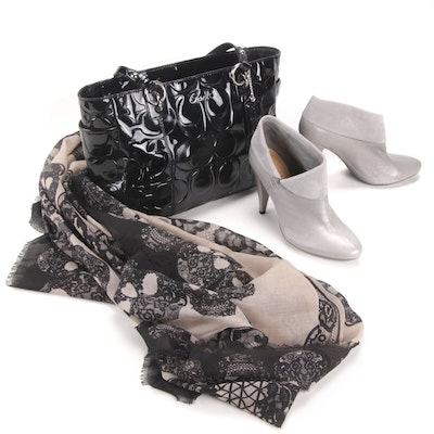 Coach Patent Leather Shoulder Bag and Leather Booties with Express Skull Scarf