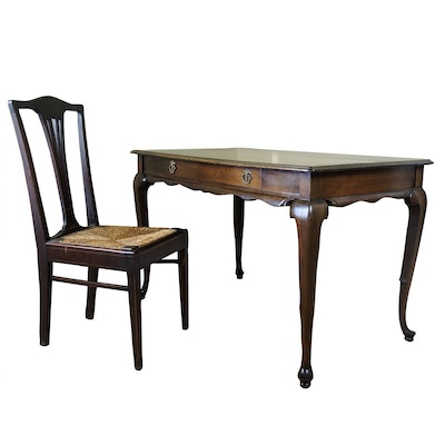 Queen Anne Style Writing Table and Chair with Rush Seat, Early to Mid 20th C.