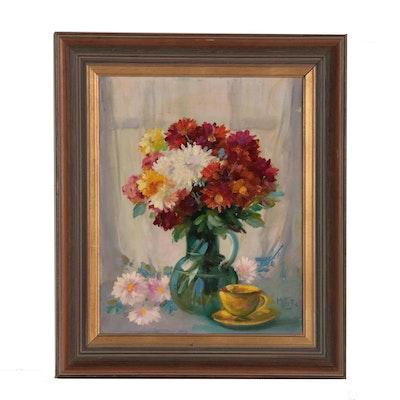 Martin Rettig Floral Still Life Oil Painting, Mid 20th Century