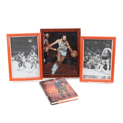 """Walt Frazier Signed """"The Game Within The Game"""" Book with NBA Photo Prints"""