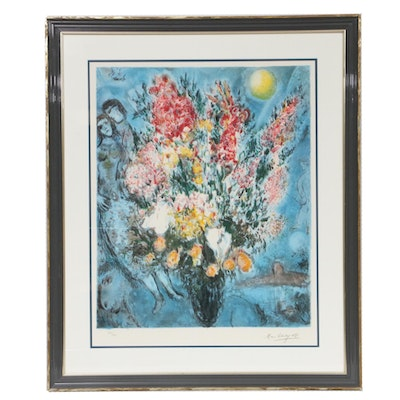 "Color Lithograph After Marc Chagall ""Bouquet,"" Late 20th Century"
