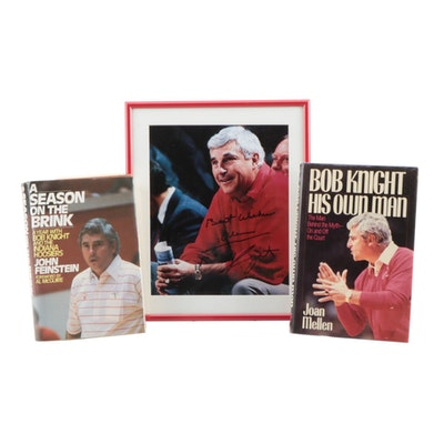 Bobby Knight Signed Indiana University Framed Photo Print with Books