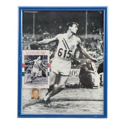 Bob Mathias Signed Olympic Card with Framed Photo Print