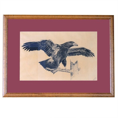 R. D. Strout Pen & Ink Drawing of Eagle, 1943