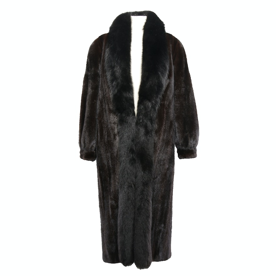 Dark Mahogany Mink Fur Reversible Coat with Dyed Fox Fur Trim and Banded Cuffs