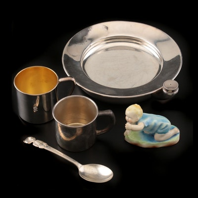 """Royal Worcester F. G. Doughty """"Michael"""" with Silverplate Childrens Dinnerware"""