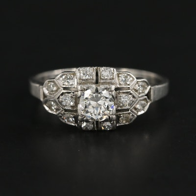 Edwardian Platinum and Palladium Diamond Ring