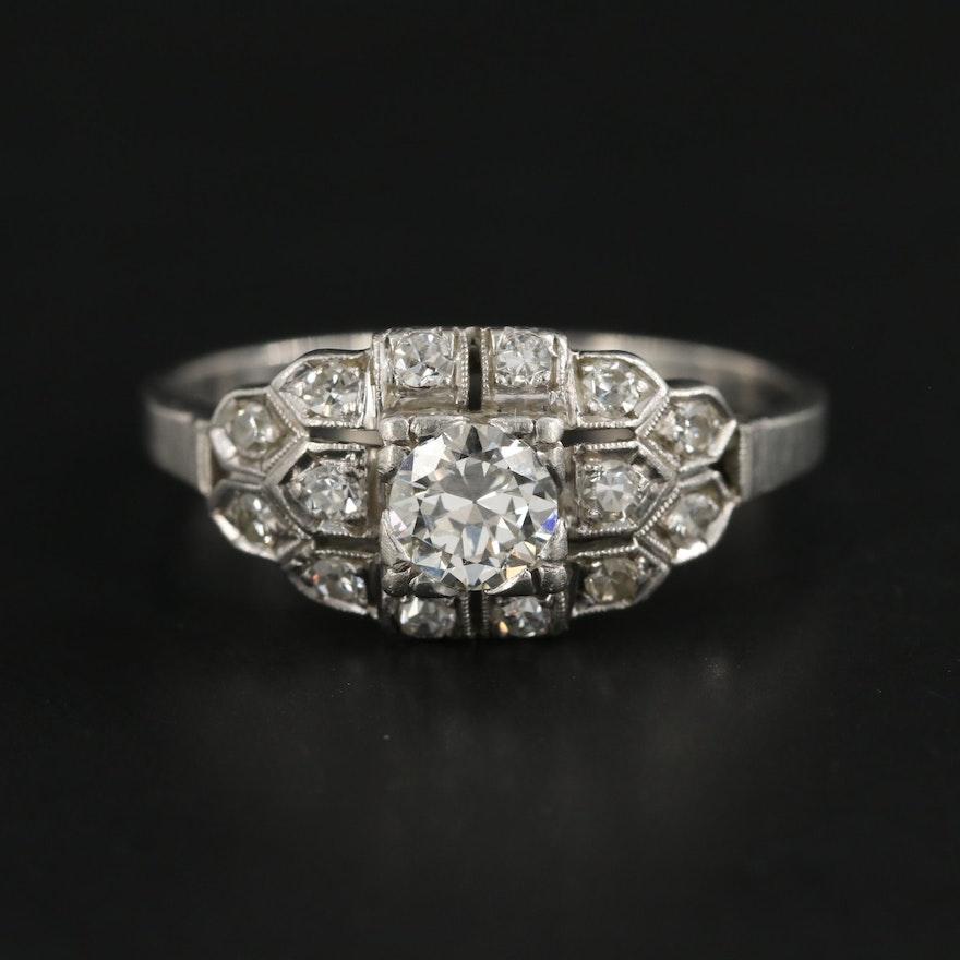 Edwardian Platinum and Palladium Diamond Ring