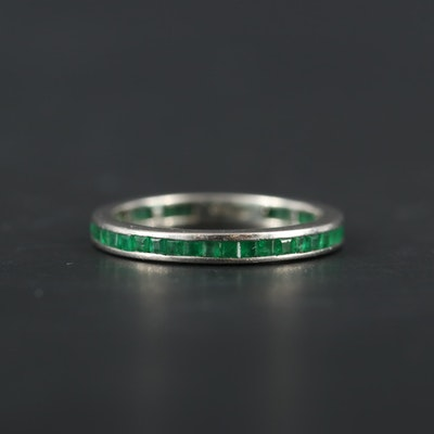 Platinum Emerald Eternity Band