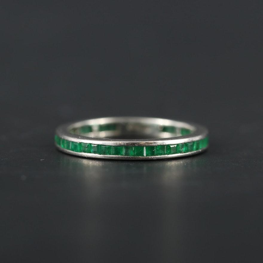 Platinum Emerald Eternity Band