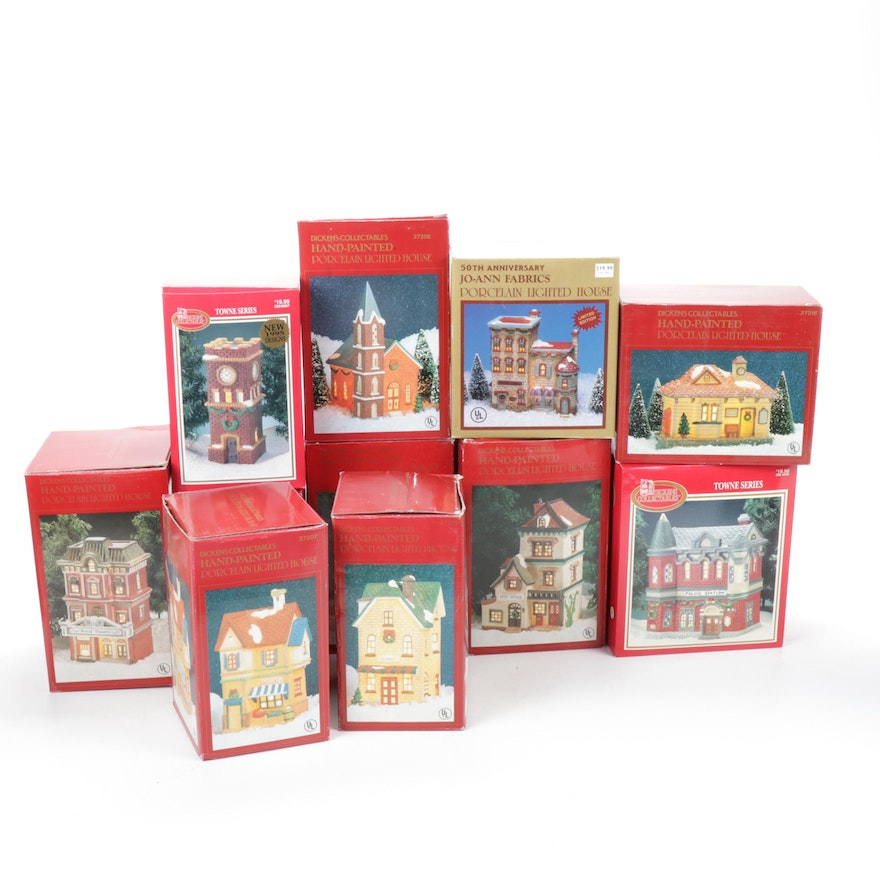 Dickens Collectables Porcelain Holiday Buildings Including Clock Tower