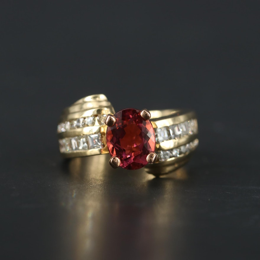 14K Yellow Gold Pink Tourmaline and 1.07 CTW Diamond Ring