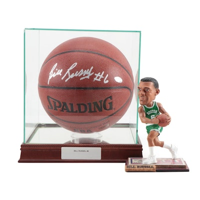 Bill Russell Signed Spalding NBA Basketball in Case with Bobblehead Doll, COA
