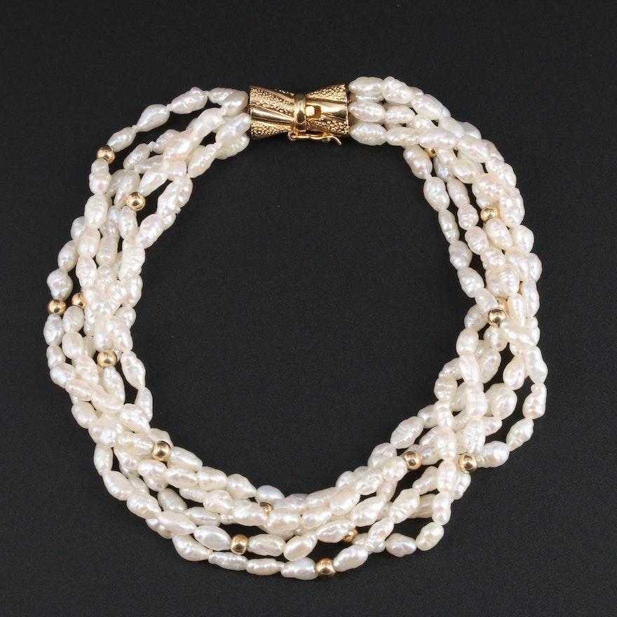 14K Yellow Gold Pearl Torsade Bracelet