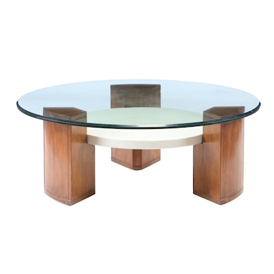 Roy Coleman for Henredon Glass Top Oak Coffee Table, Contemporary
