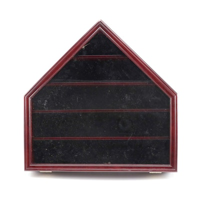 Cherry Stained Baseball Wall Mount Display Case with Key, Late 20th Century