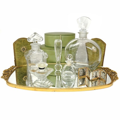 Matson Mirror Vanity Tray, Vintage Glass Perfume Bottles, and More