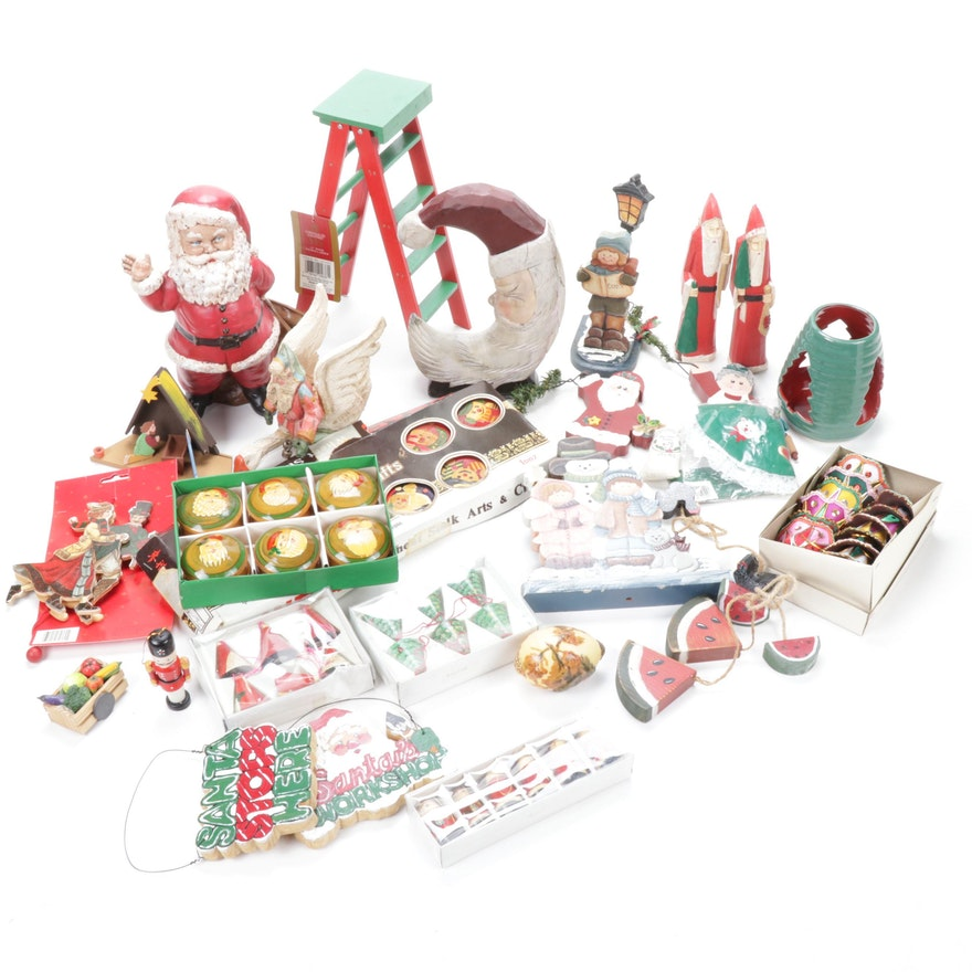 Wood and Ceramic Christmas Décor, Mid to Late 20th Century