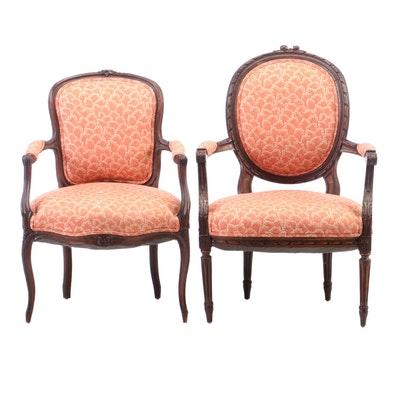 Two Louis XV Style Carved Beech Arm Chairs, Early to Mid 20th Century