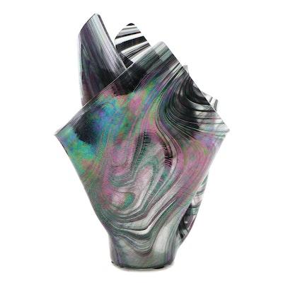 Contemporary Swirled Iridescent Glass Handkerchief Vase, 1999