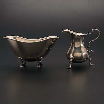 Barraclough & Sons of Chester Sterling Creamer with Towle Sterling Bonbon Bowl