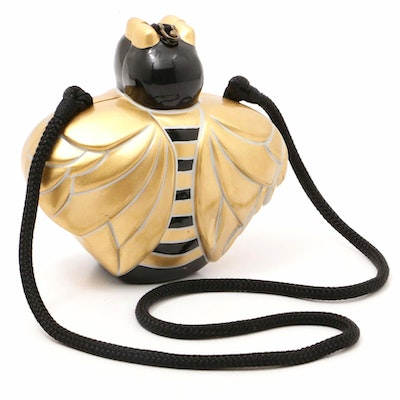 Timmy Woods of Beverly Hills Carved Acacia Wooden Bee Purse