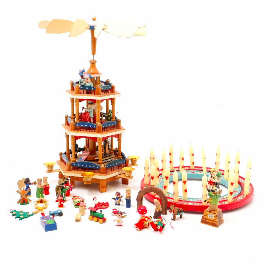 Steinbach Candle Wreath and Carousel with Other Hand-Painted Seasonal Décor