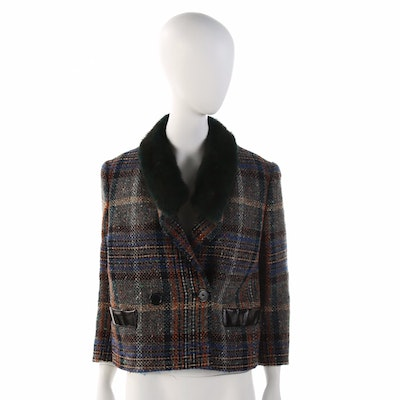 Etro Tweed Jacket with Mink Fur Collar and Patent Leather Pocket Trim