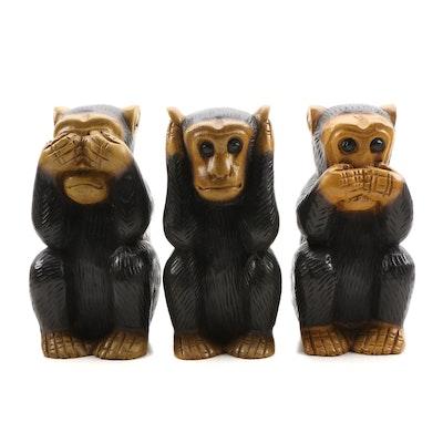 Thai Carved Hardwood Three Wise Monkey Figurines