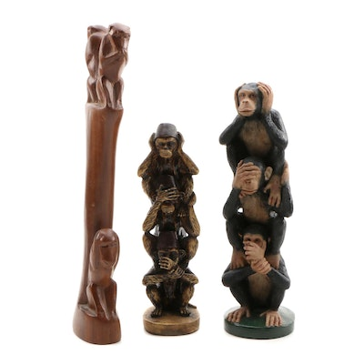 Carved Wood and Resin Three Wise Monkeys Figurines