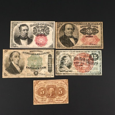 Five Pieces of Antique U.S. Fractional Currency, Late 19th Century