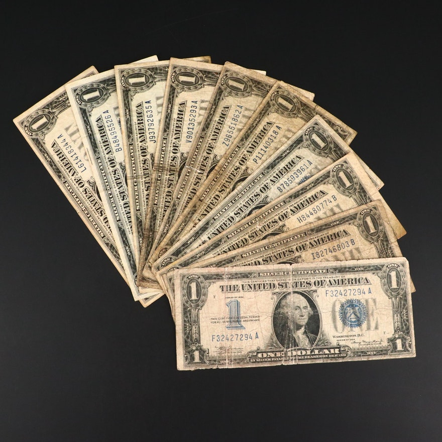 Ten Early Small Format $1 Silver Certificates