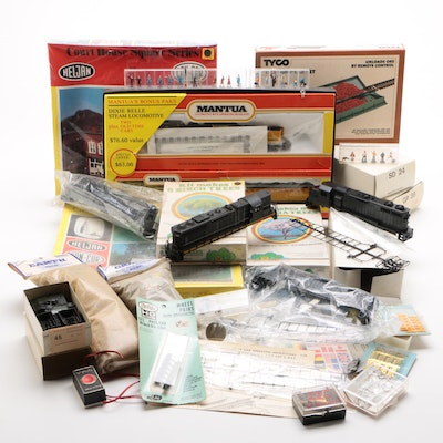 Tyco and Mantua Model Train Engines and Cars with Track Accessories, Vintage