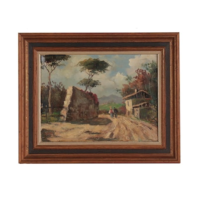 Oil Painting of Figural Landscape