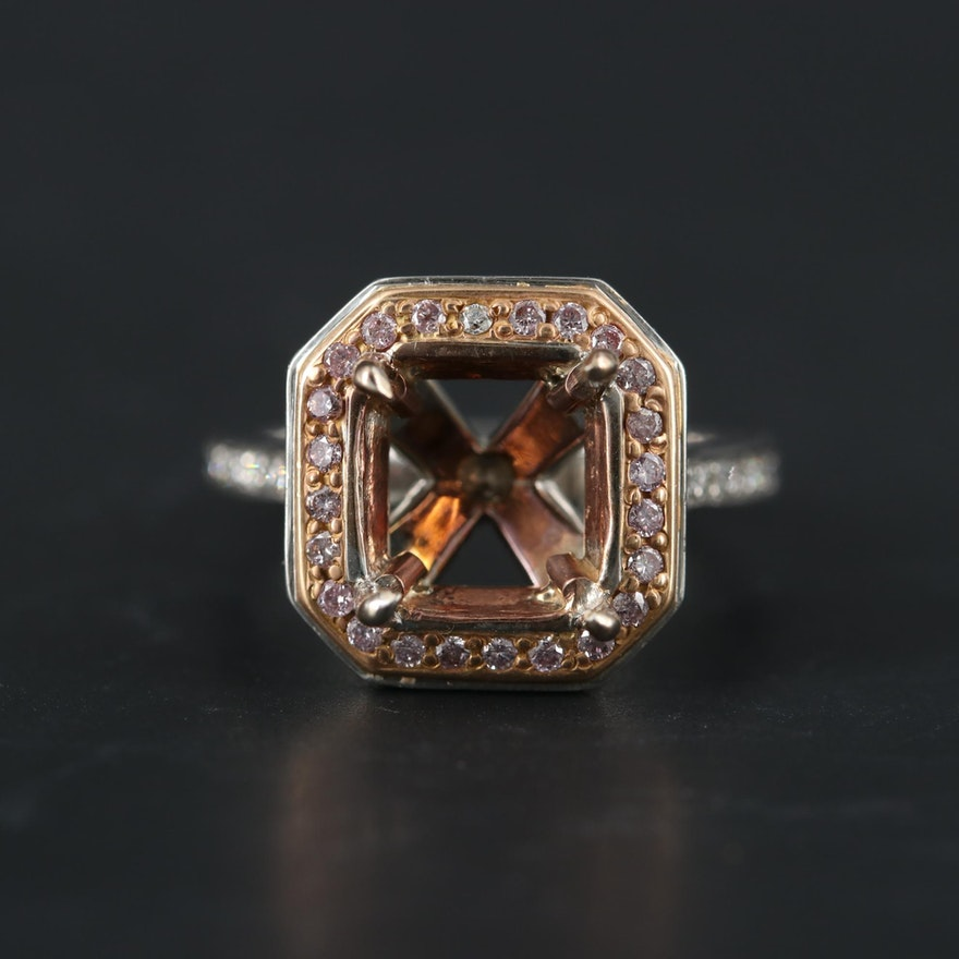 Platinum Pink Diamond and Diamond Semi Mount Ring With Rose Gold Accent