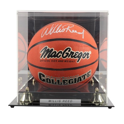 """Willis Reed Signed MacGregor """"Collegiate"""" Basketball with Case"""