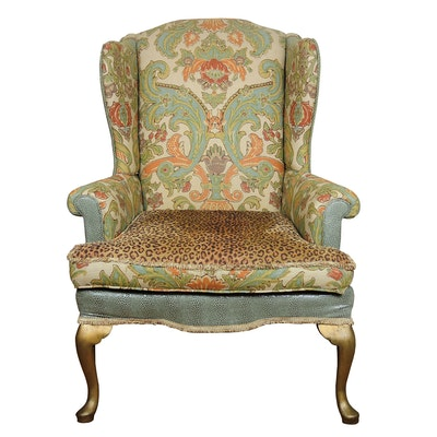 Upholstered Wingback Armchair, Contemporary