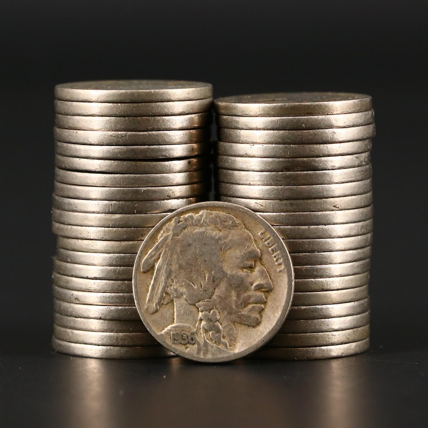 Forty Mintmarked Buffalo Nickels
