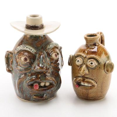 Rock Pottery Southern Folk Art Ceramic Face Jugs, 21st Century