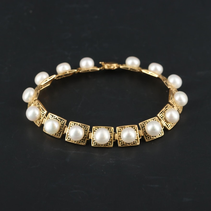 14K Yellow Gold Pearl Panel Bracelet