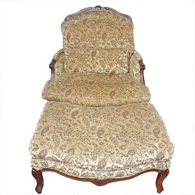 Norwalk Down-Filled Bergère Chair and Ottoman, Late 20th Century