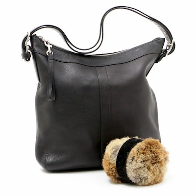 Coach Slim Duffle Gallery Black Leather Shoulder Bag and Rabbit Fur Earmuffs
