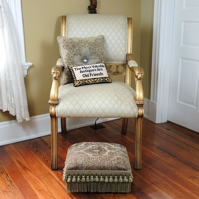 Louis XVI Giltwood Upholstered Armchair and Upholstered Footstool