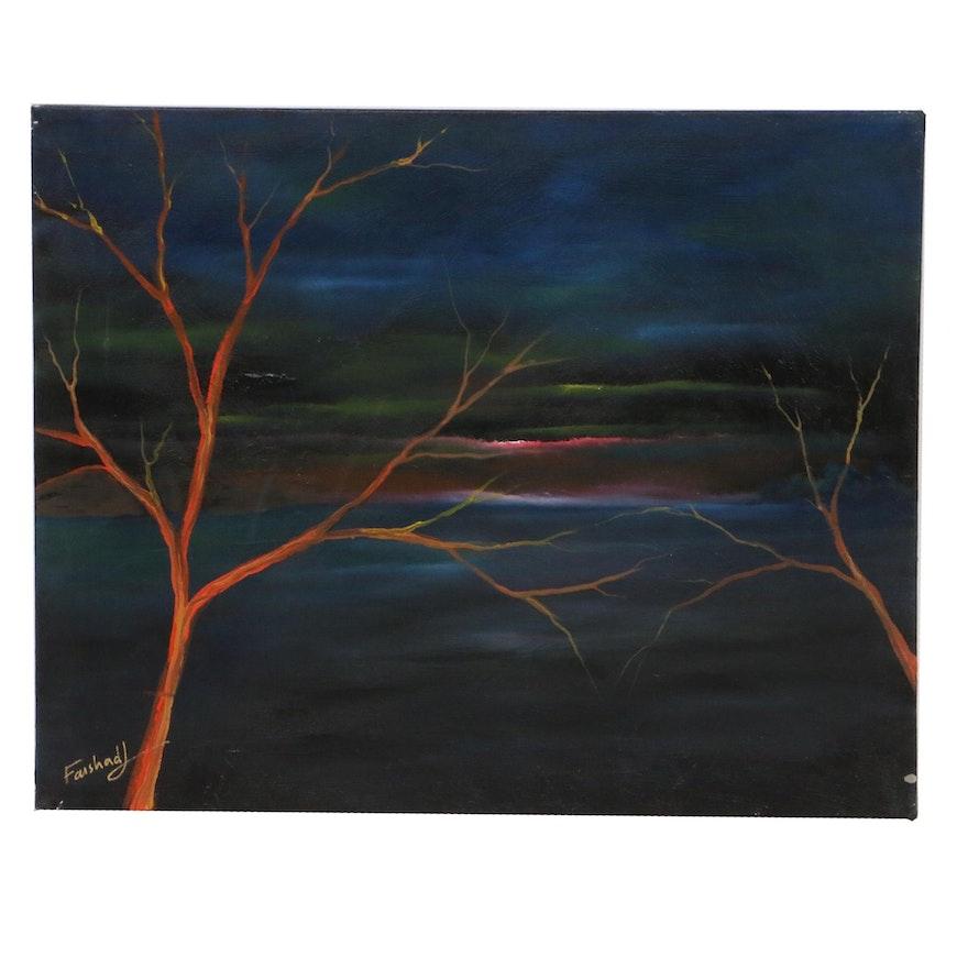 Farshad Lanjani Landscape Oil Painting, 21st Century