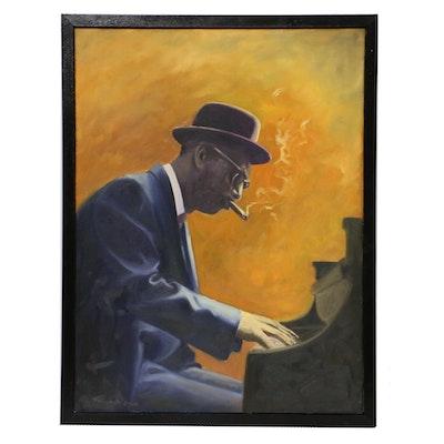 """Farnoosh Lanjani Oil Painting """"Earl Hines,"""" 2003"""
