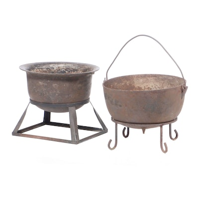 Two Antique Iron Cauldrons Plus Stands