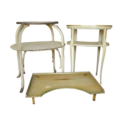 Two-Tiered Side Tables and Hand-Painted Bed Tray, Vintage